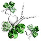18K White Gold Plated, Emerald Green Love Hearts Four Leaf Clover Crystal Elements, Fashion Pendant Necklace and Stud Earrings Set