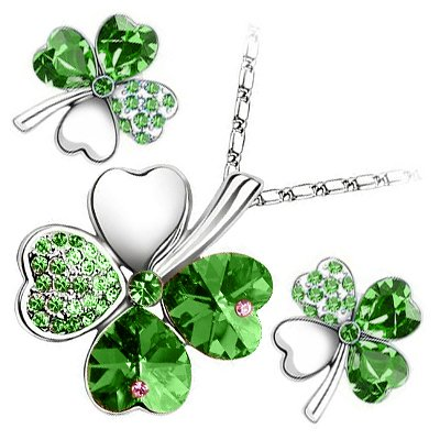 18K White Gold Plated, Emerald Green Love Hearts Four Leaf Clover Crystal Elements, Fashion Pendant Necklace and Stud Earrings Set by UPCO Jewellery