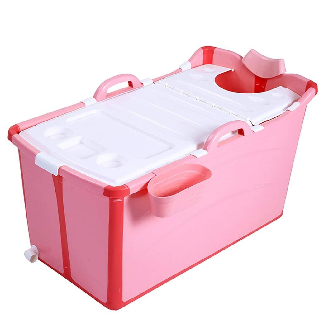 Folding Adult Bathtub, Portable Bathtub, Inflatable Bathtub, Plastic, With Lid (Color : Pink)
