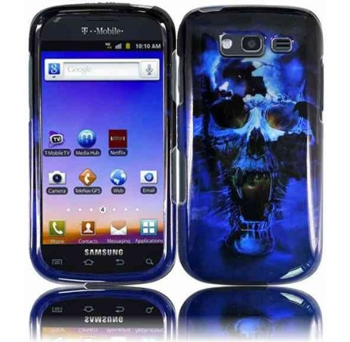 For T-mobil Samsung Galaxy S Blaze 4g T769 Accessory - Blue Skull Designer Hard Case Protector Cover + Lf Stylus Pen