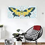 Liguo88 Custom canvas Butterflies Decoration Wall Hanging Butterfly In Stained-Glass Window With Frame Wing Spring Garden Illustration Bedroom Living Room Decor