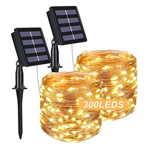 Flintronic Solar Lichtslingers Outdoor, 2 Pack 300 LED Solar Fairy Lights 32M / 100ft Solar Tuinverlichting Waterdicht 8…