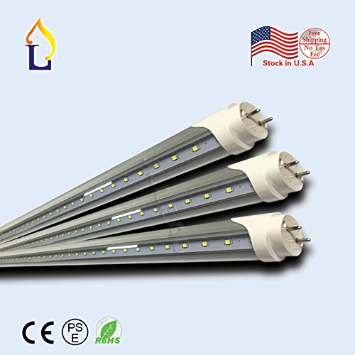 (15 Pack) ETL Double rows T8 LED Light Tube V shape 8ft 48W G13 3000k/4000k/6500K white daylight Work without ballast Work Shop Lighting Replacement for garage, Double-Ended - Shop Row The