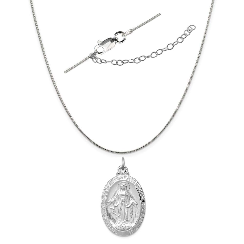 Sterling Silver Anti-Tarnish Treated Miraculous Medal Charm on an Adjustable Chain Necklace
