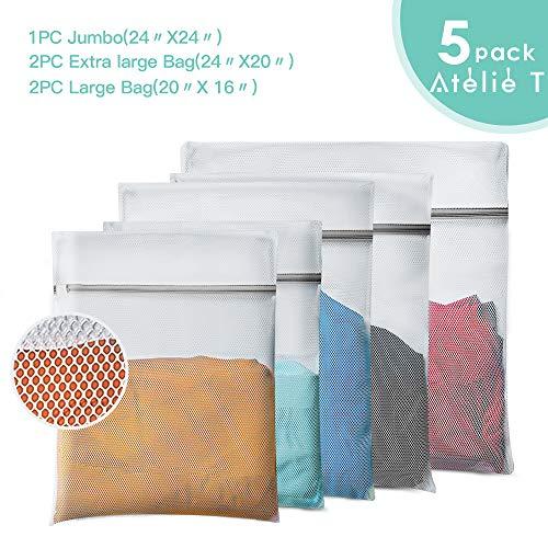 ATELIE T Mesh Laundry Bag, Set of 5 Lingerie Wash Bag - 1 Jumbo, 2 Extra Large & 2 Large Bags Laundry, Blouse, Hosiery, Stocking, Underwear, Bra Lingerie, Travel Laundry Bag