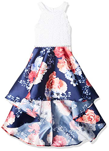 Speechless Girls' Big 7-16 Tween Sleeveless High-Low Taffeta Party Dress, Navy Fuchsia 14 -