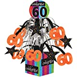 Creative Converting Party Decoration Metallic Foil Cascading Centerpiece, Milestone Celebrations 60th
