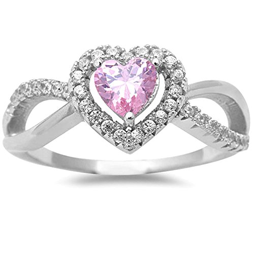 925 Sterling Silver Halo Ring Heart Shape Rose Pink CZ and Clear CZ Split Shank Wedding Ring (Ice Pink Heart Ring)