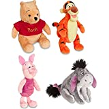 Disney Store Original Winnie the Pooh Plush Set of 4 with Piglet, Tigger, Winnie