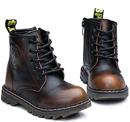 Brown Lace Girl's Big Zipper Little Leather Kid Kid Up DADAWEN Boy's Fur Boot Side without Ankle Toddler Cxw6nnUq