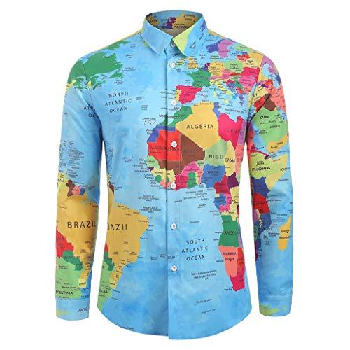 (YKARITIANNA Mens Brief World Map 3D Print Long Sleeve Turn-Down Collar T-Shirt Top Blouse Blue)