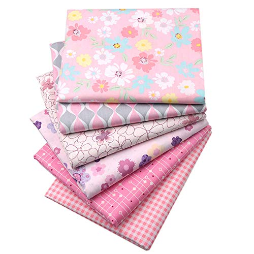Pink Fat Quarters Fabric Bundles, Quilting Fabric for Sewing Crafting, 18