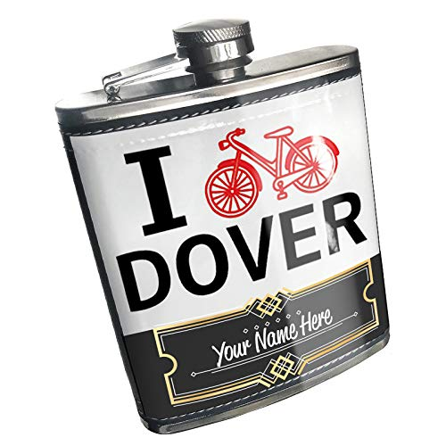 Neonblond Flask I Love Cycling City Dover Custom Name Stainless Steel]()