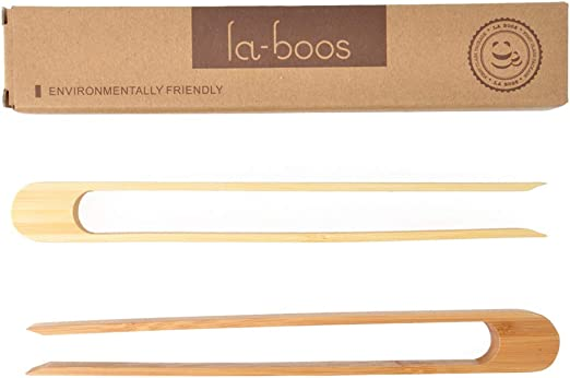 """Space Saving Modern Kitchen Accessory for Home Restaurant Set of 2 laboos Magnetic Bamboo Toaster Tongs 100/% Natural 8.7/"""" Wood Kitchen Toast Tongs Eco-Friendly"""
