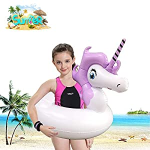 Unicorns Inflatable Pool Float for Adult and Kids, Floaties Toys with Thickening Material for Beach or Swimming Party (Inflates to Over 31″)
