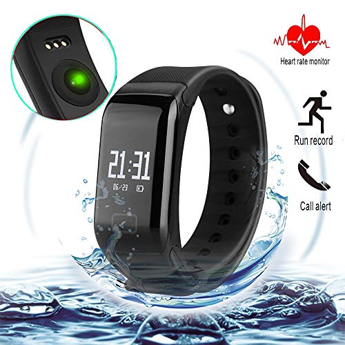 Fitness Tracker with Replacement Band Waterproof Heart Rate Monitor Call Remind Wireless Pedometer Activity Tracker for Women, and Men (Black + Blue Band)
