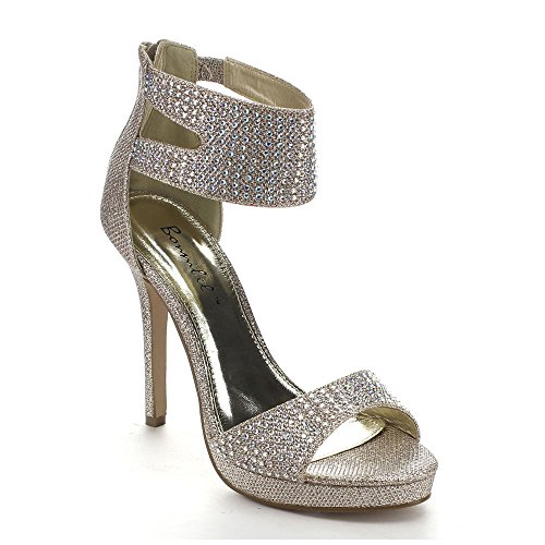 Bonnibel Bling-1 Womens Glitter Stiletto Ankle Cuff Back Zip Dress Sandals Champagne LFHli1h
