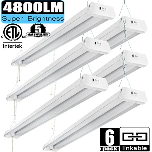 Linkable LED Shop Light 4ft 42W 5000K 4800LM Super Bright, cETLus Certified, Garage Lighting Fixture, with Pull Chain(ON/Off) 5000K (6PK) ()