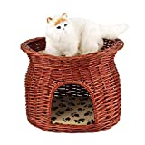 Cocoarm 2 Layers Pet Cave Handmade Rattan Wicker Cat Bed Basket Dog Sleeping House Condo Cat Nap Bed with Soft Cushion