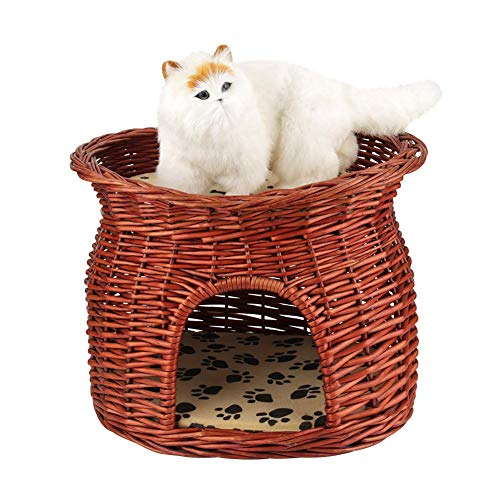 - Cocoarm 2 Layers Pet Cave Handmade Rattan Wicker Cat Bed Basket Dog Sleeping House Condo Cat Nap Bed with Soft Cushion
