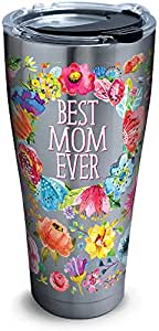 Tervis 1286448 Best Mom Ever - Vaso de acero inoxidable con tapa de martillo transparente y negro (39 g), color plateado