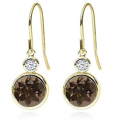 Gem Stone King 3.68 Ct Round Brown Smoky Quartz White Topaz 14K Yellow Gold Earrings