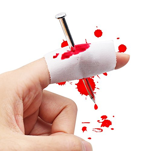 Bloody Nail Through Finger, Funny Creative Props Novelty Prank Trick Joke, Costume Spoof Toy Gag Gift for Halloween Party, April Fool's (Halloween Prank)