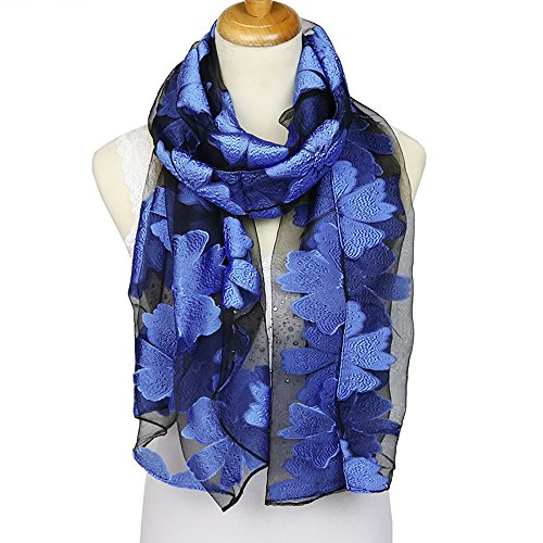 ChikaMika Silk Scarves for Women Fashion Wraps 100% Silky Scarves Top Quality Floral Silk Scarves (Blue)