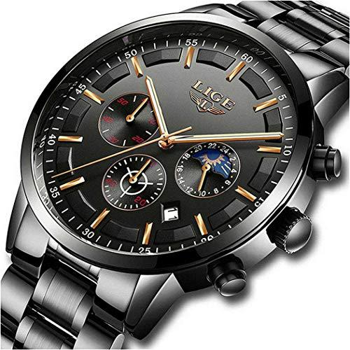 Comprar Relojes para Hombre Moda Acero Inoxidable Deportivo Analógico Reloj Cronógrafo Impermeable Negocios Reloj de Pulsera - Envíos Baratos o Gratis