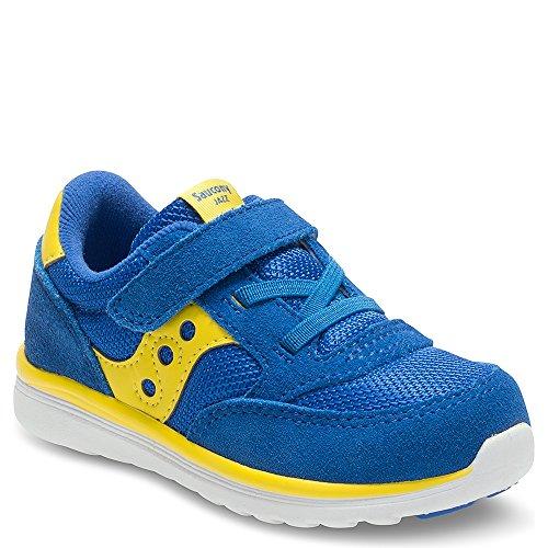 SAUCONY - Basket Baby Jazz bleue et jaune en nylon et suède, avec fermeture en velcro, lacets élastiques, garçon, garçons
