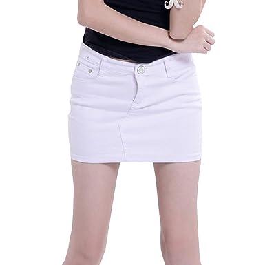 prezzo di fabbrica b717e 363da Cayuan Minigonna di Jeans da Donna Elasticizzata Denim Gonna a Matita  Bodycon Gonne Corta Estate