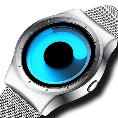 Mens Designer Watch (Mens Simple Designer Watches Silver Men's Mesh Strap Luxury Wrist Watch Stainless Steel Band 30M Waterproof Quartz Fashion Business Casual Watches for Men Blue Dial)