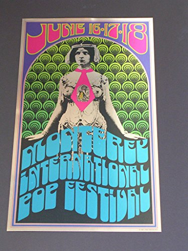 Rare AOR 3.5 MONTEREY POP Psychedelic METALLIC FOIL Poster by TOM WILKES