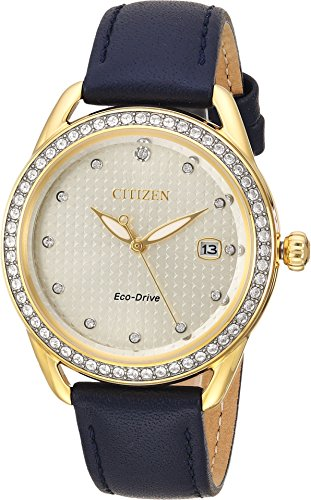 Drive Blue Dial Watch - Ladies' Drive from Citizen LTR Gold-Tone Dial and Navy Blue Leather Strap Watch FE6112-09P