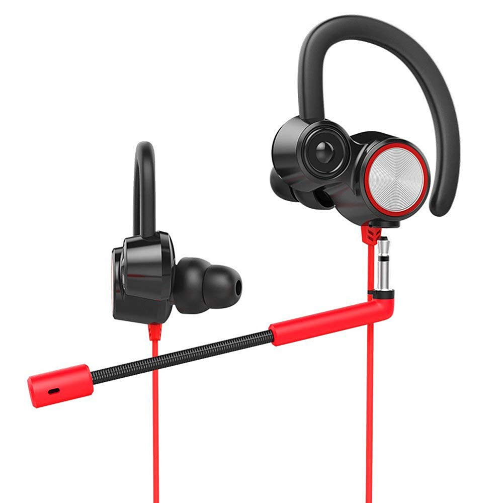 DoinMaster HD Gaming Headset with Mic 3.5mm in-Ear Noise Cancelling for PUBG, PS4, Xbox ONE, Smartphone, Computer, and More, with Ear-Hook (Black+Red) by DoinMaster