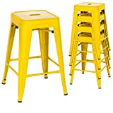 Classic Style Kitchen Dining Room Chair Stackable Backless Solid Metal Seat Set Of 4 Metal Barstools Indoor Outdoor Counter/Yellow #1049
