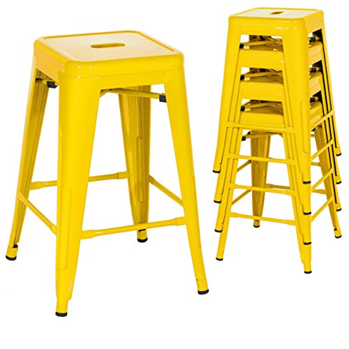 Classic Style Kitchen Dining Room Chair Stackable Backless Solid Metal Seat Set Of 4 Metal Barstools Indoor Outdoor Counter/Yellow #1049 (Gumtree Furniture Patio Gauteng)