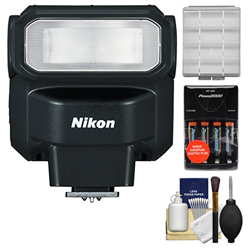 Nikon SB-300 AF Speedlight Flash with Batteries & Charger + Cleaning & Accessory Kit for D3200, D3300, D5200, D5300, D7000, D7100 DSLR Cameras