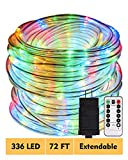 ECOWHO Rope Lights Outdoor, 72ft 336 LED 8 Modes Dimmable Waterproof Indoor LED Rope String Lights Plug in ETL Listed for Bedroom Patio Christmas Tree Garden Party Decor (Multi Color)