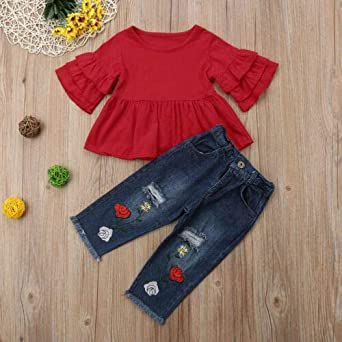 Fall Winter Toddler Baby Girls Sweater Jeans 2 Pcs Outfits Beige Long Sleeve Pullover Top+Long Denim Pants Warm Clothes