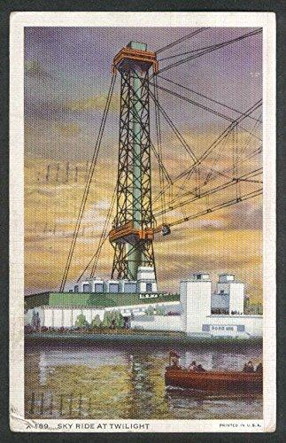 Sky Ride at Twilight Century of Progress 1934 Chicago Exposition postcard