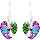 """Royal Crystals """"Made with Swarovski Crystals"""" Sterling Silver Pink Blue Wave Heart Pierced Earrings"""