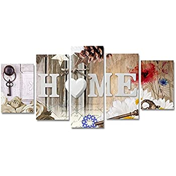 5 Panels Canvas Painting Print Heart of Love Home Art Abstract Flowers Artwork Modren Picture for Living Room Home Decoration
