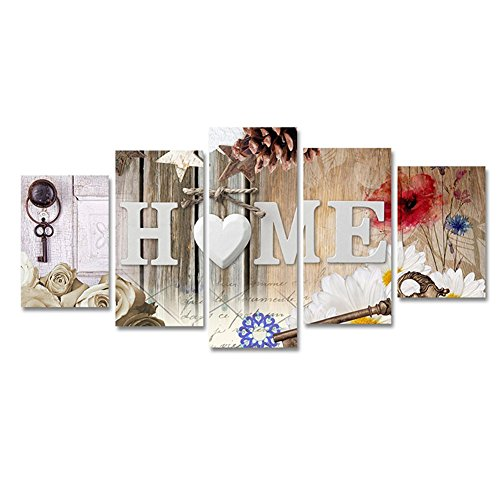Modren Heart of Love Home Art Abstract Flowers Canvas Painting Print Artwork Wall Picture for Bedroom Wall Decor