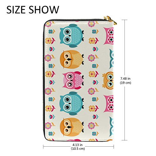 And Handbags Owls TIZORAX Cartoon Wallet Pattern Clutch Organizer Purses 1 Zip Around Womens WqraBY5nq