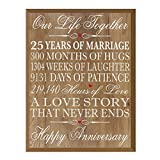 LifeSong Milestones 25th Wedding Anniversary Wall Plaque Gifts for Couple, 25th Anniversary Gifts for Her,25th Wedding Anniversary Gifts for Him 12'' W X 15'' H Wall Plaque By (Pine)
