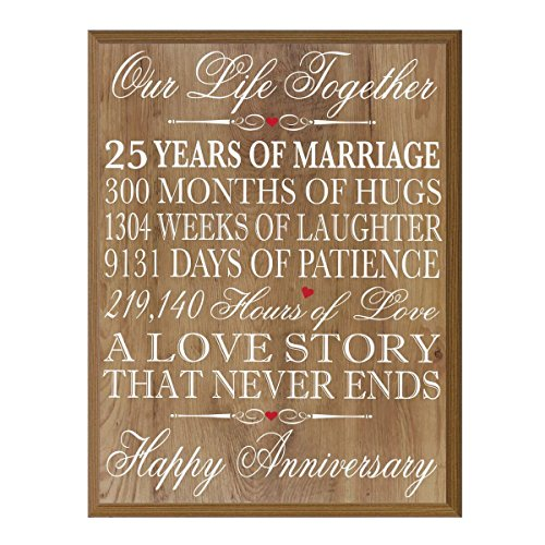 LifeSong Milestones 25th Wedding Anniversary Wall Plaque Gifts for Couple, 25th Anniversary Gifts for Her,25th Wedding Anniversary Gifts for Him 12'' W X 15'' H Wall Plaque By (Pine) by LifeSong Milestones