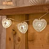 20 LED Love Heart String Lights, Christmas Lights, Indoor / Outdoor Decorative Light, USB Powered, 16 Ft, Warm White Light - for Patio Garden Party Xmas Tree Wedding Decoration