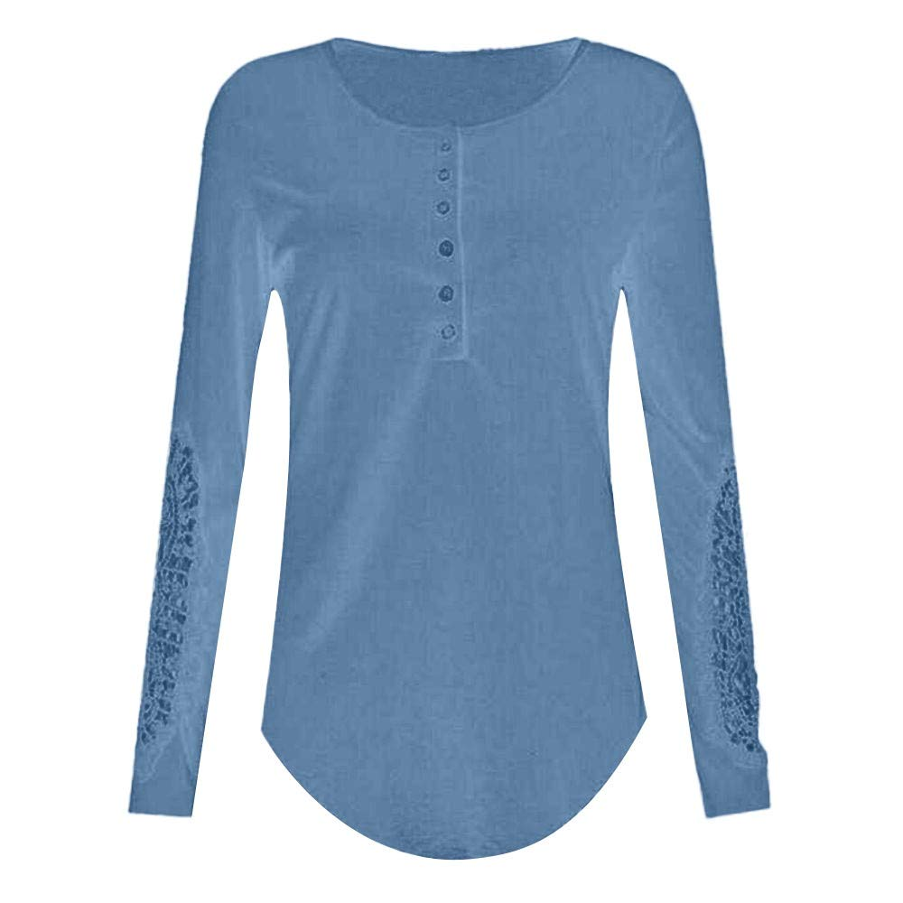 Women Henley Shirt Long Sleeve Casual Ribbed Scoop Neck Button Up Pullover Tops Blouse Tunic Shirts (XXXXXL, Blue)