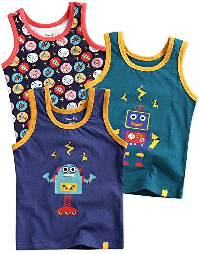 Undershirt Cotton Baby (Vaenait baby Kids Boys Cotton Undershirts Tank Tops Blue Raser Robot XL)